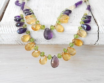 Amethyst and Citrine Layered Necklace, Double Strand Natural Multi Gemstone Necklace, Statement Glamorous Necklace, Gemstone Jewelry