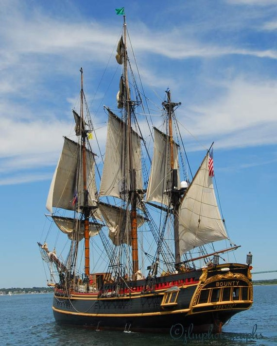 Nautical Photography H.M.S. Bounty  8 x 10 Tall Ships Photograph, nautical decor, home decor, office wall art, nautical prints, large prints