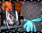 Purse - Pin up Girl - Polka Dots - Motorcycle - Chopper - Black Crepe - Bag