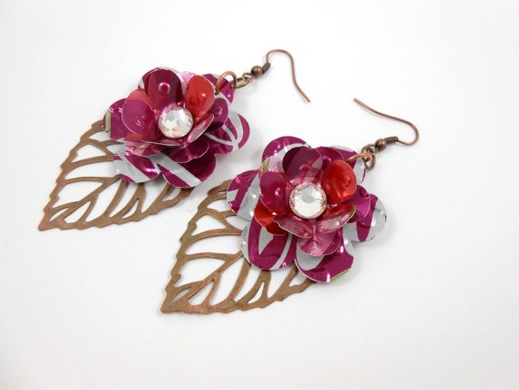 Pink Rose and Leaf Earrings. Recycled Soda Can Art.  Cherry Coke
