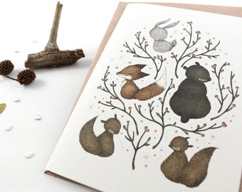 50% OFF - Christmas Cards - Woodland Critters - 10 Greeting Cards