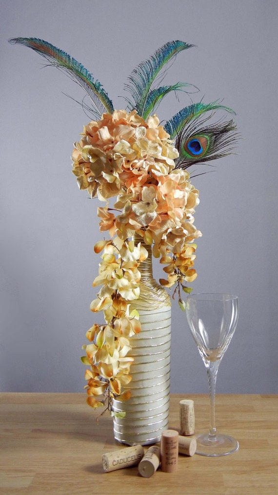 Peacock Floral Arrangement, Gold Hydrangeas with Peacock Feathers in Wine Bottle Vase