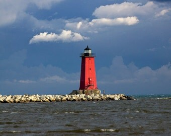 Manistique Red Lighthouse on a Pier on Lake Michigan in the Upper Peninsula of Michigan No.1213 A Fine Art Seascape Lighthouse Photograph