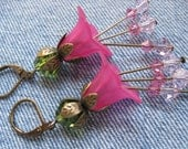 Hot Pink Bell Flower Earrings -  Swarovski Beads and Copper-Lightweight