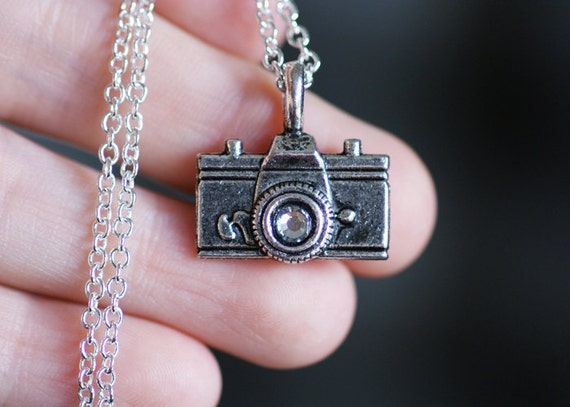 Silver Photographer Necklace - Vintage Style Film Camera Charm with Clear Swarovski Crystal Rhinestone