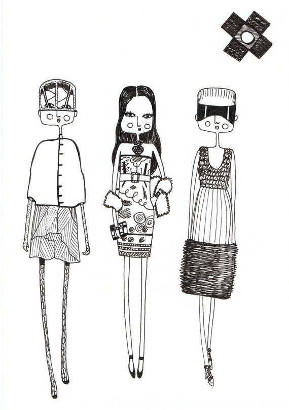 Items similar to Fashion illustration, quirky print ...