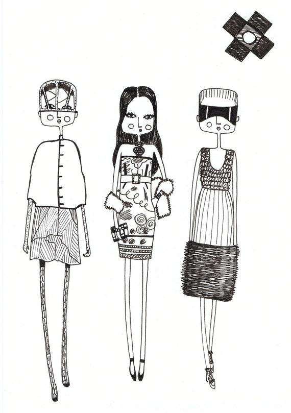 Items similar to Fashion illustration, quirky print ...
