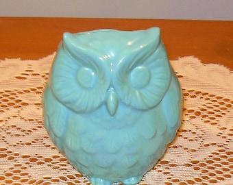 Hootie - Ceramic Owl Planter / Owl Vase / Pencil Holder - Turquoise