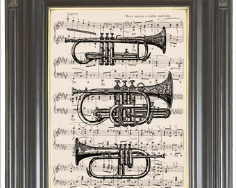 Horns musical instrument Trumpet COUPON SALE Dictionary art print Sheet music print Digital art print Wall decor Music decor Item No 493