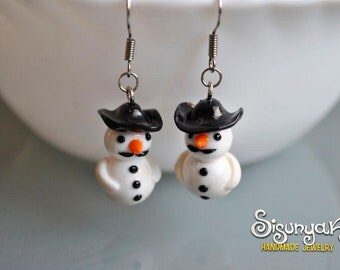 Moustache Snowman Earrings