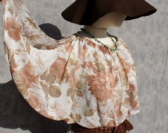 70's Bohemian Sheer Floral Flutter Sleeve Dress
