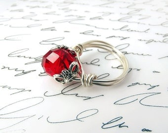 Ruby Red Ring, Swarovski Crystal, Wire Wrapped Ring, Red Jewelry, Cocktail Ring, July Birthstone