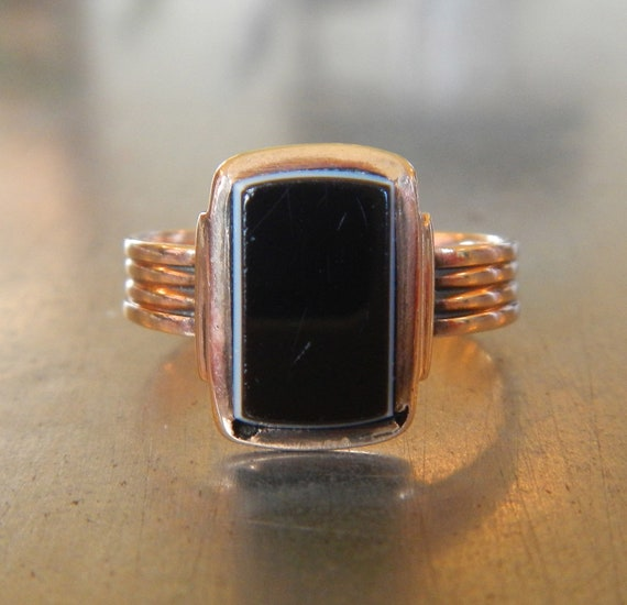 Art Deco Ring - Vintage Onyx Ring - Unique Engagement Ring - Right Hand Ring - Onyx Ring - 1920s Ring- Black Agate Ring- Great Gatsby Ring