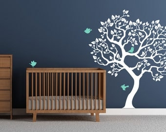 Wall decal white tree sticker Mint birds baby nursery tree