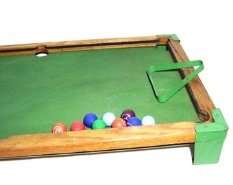 Vintage Toy Pool Table 1940s Billiards 10 Miniature Clay Pool Balls Large wood billiard gameboard