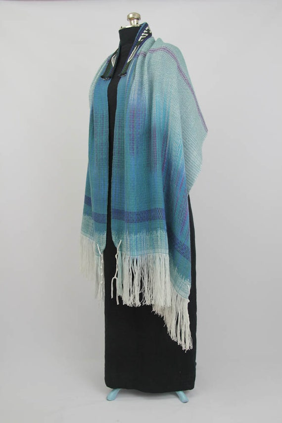 Teal Painted Warp Tallit - Handwoven, Hand dyed, OOAK
