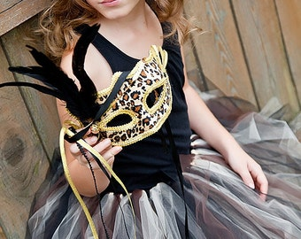 Cheetah Leopard Masquerade Tutu for Girls, Teens, Adults with gift Animal Print Half Mask Halloween, Parties