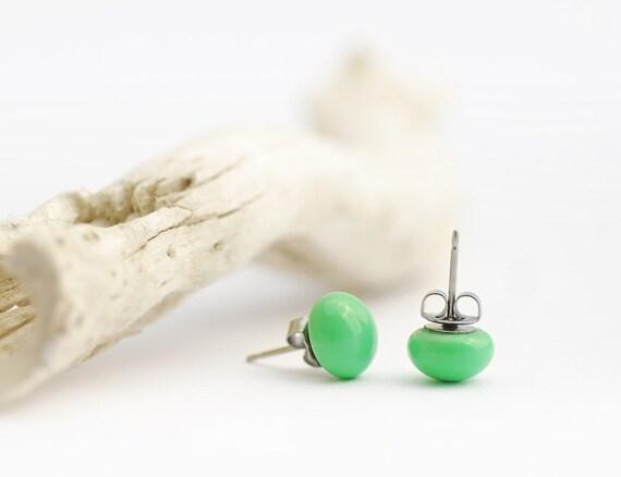 Mint earrings, mint stud earrings, mint murano fused glass studs, mint studs