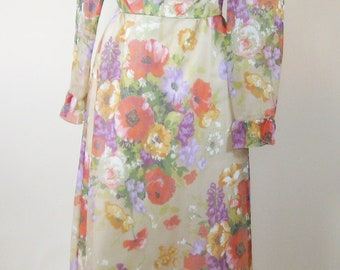 1970s Floral Maxi Dress Prom Dress Formal Halter Neck Ruffled Bolero Jacket Size Small