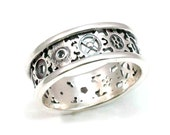Steampunk Gear Ring - Alternating Gears Silver - Handmade - Steam Punk