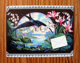 Swallow's Air Mail Garden postcard set, pack of 5
