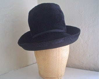 Vintage Black Felt Hat Swanky 1960s Tall Fur Felt Cloche with Upturned Brim