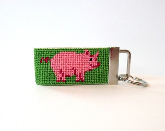 Needlepoint Kit, Pink Pig Key Fob
