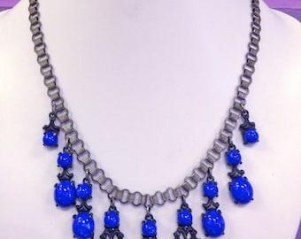 Gorgeous Vintage Cast Pot Metal Victorian Book Chain Necklace with Lapis Lazuli Art Glass Cabochons