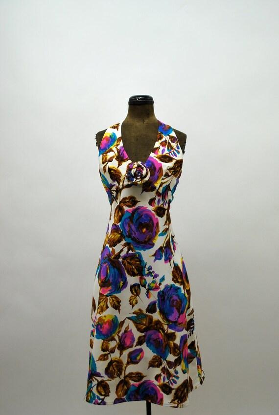 1960's Rose Print Halter Dress - 26 inch waist