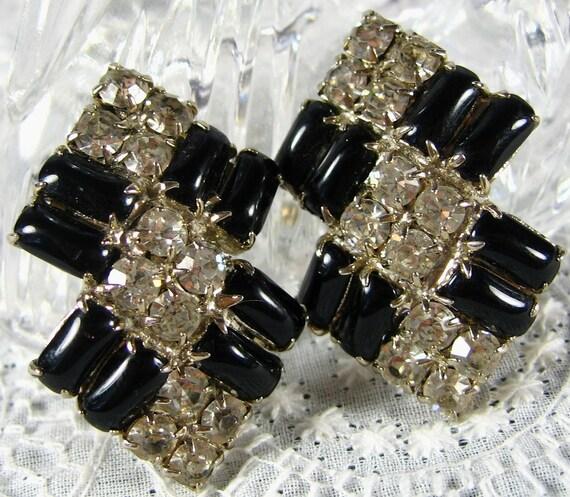 Vintage Earrings, Black Rhinestone Earrings, Large Rhinestone Earrings, Geometric Art Deco Rhinestone Earrings, 1950s 1960s Mad Men Jewelry
