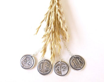 Spring wedding wax seal bridesmaid necklace jewelry pendant with first and last initial