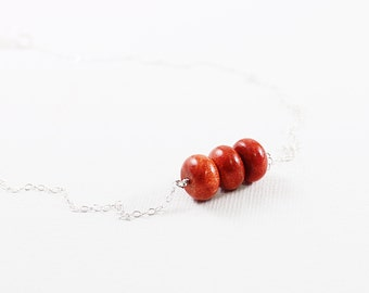 Hot red jewelry, real coral necklace, sterling silver simple necklace, sponge coral jewelry