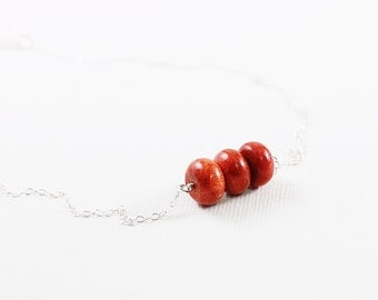 Real coral necklace red jewelry sterling silver simple necklace genuine sponge coral jewelry