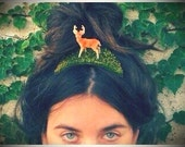 Indie Rock Tiara : Vintage Deer Figurine Headpiece Fascinator on Green Moss Mound Accessory