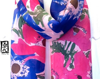 Hand Painted Silk Scarf, Silk Summer Scarf, Blue and Pink Anemone Flowers, Blue Silk Scarf, Floral Scarf, 11x60 inches, Made to Order.