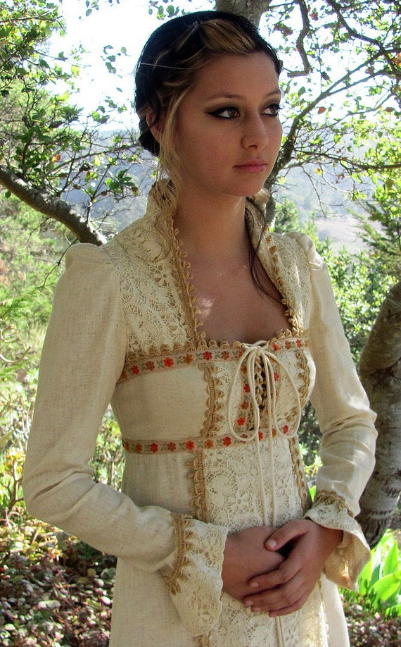 Vintage Black Label Gunne Sax Cream Color with Flower Ribbon and Hemp Trim - Free U. S. Ship - Treasury 2X