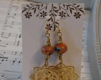 Gold Filled Tangerine Tango Lampwork beads with gold filled accents Handmade Earrings