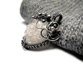 Opalescent Quartz Necklace - Raw Druzy Gemstone - Wire Wrapped Silver - Geode Necklace - Wedding Bridal Pendant - Snow White Luxury