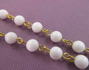 3 Ft  Vintage 8mm White Plastic Bead and Brass Chain Ch193
