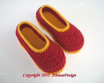 Crochet Pattern 068 - Children's Slippers Amy in six sizes Flower Slippers Pattern Shoes Girl Boy Children Toddler Youth Sizes Red Booties