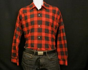 Mens Red Plaid Shirt, Medium, 1950s