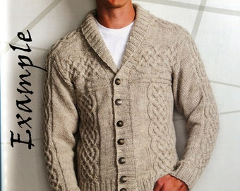 Hand knitted Ireland Jacket for Men. 100%  Wool. Made to order. Custom made