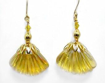 Gold color Seashell Earrings, Swarovski, Handmade Gold Fill Earwires