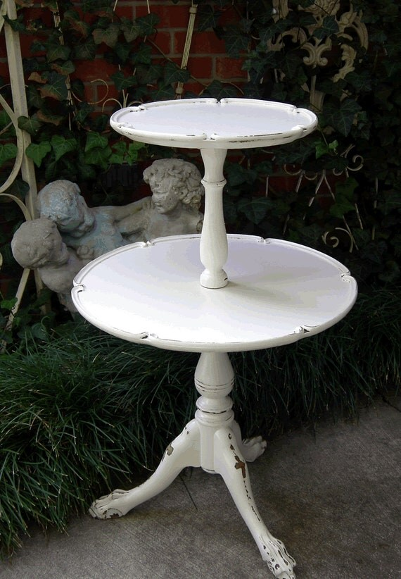 RESERVED 2/1/15! White Painted Antique Serving TABLE 2 Tier Pie Crust Round Tops Shabby Chic Furniture Claw Feet