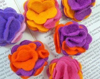 Felt flower appliques bright colours 6 pieces