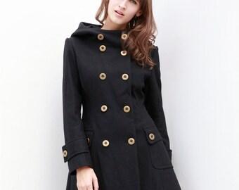 Black Jacket Hooded Coat Double breasted Hoodie Wool Coat Winter Jacket Women - Custom Made - NC423
