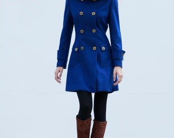 ON SALE Size S Royal blue Double breasted Hoodie Wool Coat Winter Jacket - Custom Made - NC425