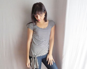 Striped tshirt, striped shirt, womens top, short sleeve top, scoop neck shirt, fitted top, womens tops, tank top