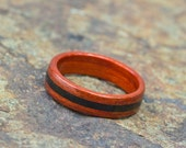Redheart Bentwood Ring featuring Tibetan Jet Stone Inlay - And We Plant A Tree :)