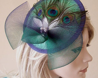 Peacock Navy Emerald Green White Ombre Saucer Feather Fascinator Hatinator Hat MN157 Mother of the Bride Groom Wedding Guest Headpiece